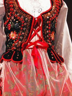 Detail of a traditional dress from Kraków region, Poland