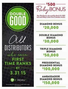 Double Good Bonus!  Earn first time ranks by 3-31-15 and get the Double Bonus.