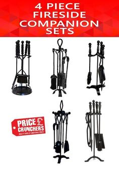 Crafters Fire Companion Set Fireside Shovel Brush Tongs Poker Fireplace Tools #Inglenook