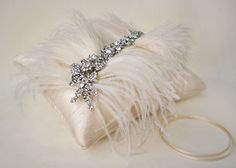 Vintage Hollywood Silk, Rhinestone, and Feather Ring Bearer Pillow