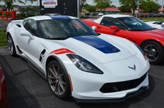 2017 Corvette Grand Sport Z15 Heritage Package in Arctic White with Adrenaline Red interior and the 3LT package.
