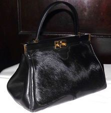 d2599dedd3 Elegant rare comtesse germany horse hair pony leather satchel handbag purse  bag