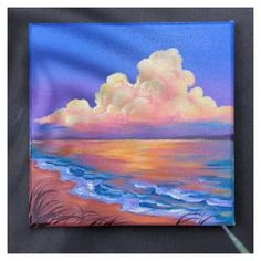 STEP by STEP Sunset Beach Landscape Painting for Beginners Using Acrylic Colours #pallette #knife #painting #acrylics #palletteknifepaintingacrylics Simple Canvas Paintings, Small Canvas Art, Mini Canvas Art, Easy Nature Paintings, Sunset Paintings, Wall Paintings, Unique Paintings, Mini Paintings, Canvas Artwork