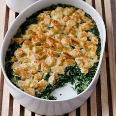 Baby Spinach + Garlic Bread Pudding // #Thanksgiving Vegetarian Casseroles: http://www.foodandwine.com/slideshows/thanksgiving-vegetarian-casseroles #foodandwine