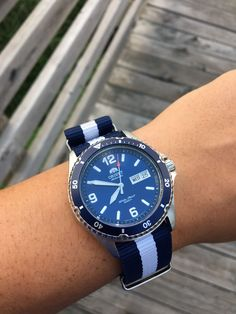 [Orient] The NATO strap is a fun addition Orient Watch, Watches Photography, Expensive Watches, Nato Strap, Iwc, Seiko, Casio, Omega Watch, Rolex