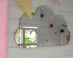 Cloud shape acrylic mirror for kids room nursery by metallovepl