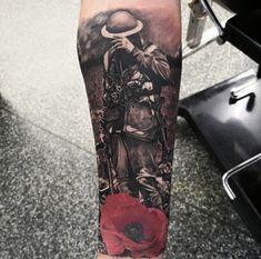 War Memorial Tattoo by Etgar Limited Availability @ Revelation Tattoo Studios Northampton. Army Tattoos, Tribal Sleeve Tattoos, Warrior Tattoos, Military Tattoos, Tattoos Skull, Feather Tattoos, Tattoo Sleeve Designs, Hand Tattoos, Tatoos
