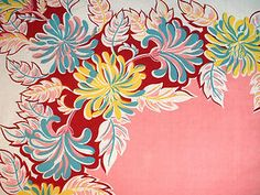 An unusual floral in this Vintage Tablecloth