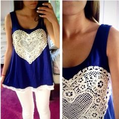 ❗️LAST ONE❗️ Lace Heart Front Navy Flowy Tank Such a cute fun tank! Size small fits 0-4. LAST ONE Tops Tank Tops