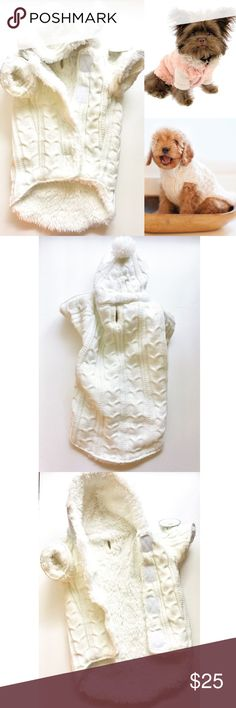 """Dog Cable Knit Sherpa Lined Hooded Jacket HuggleHounds M Hoodie for your fur babes White cable knit outer  Sherpa lining through out  Hood with white Pom Pom  Easy on and off w 4 chest Velcro closure  Cut out for easy collar and leash attachments  Size M fits up to 19inches"""" Brand New w Tags!!  Mint condition hugglehounds Accessories"""