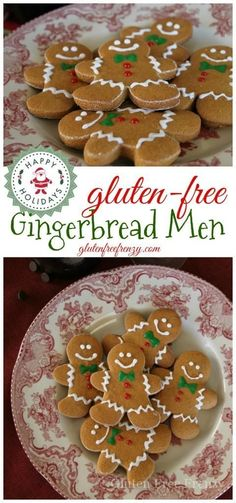 holiday treats These gluten-free gingerbread men help you get into the holiday spirit with flavors like nutmeg and molasses. These fragrant little cookies are a family favorite that als Gluten Free Christmas Recipes, Gluten Free Christmas Cookies, Gluten Free Cookie Recipes, Gluten Free Sweets, Gluten Free Baking, Christmas Desserts, Christmas Baking, Holiday Treats, Christmas Eve