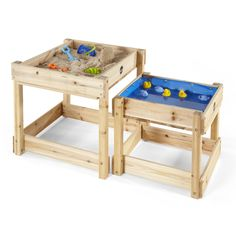 Order the Plum Sandy Bay Wooden Sand & Water Play Tables from Swing and Play! The Plum Sandy Bay Sand and Water Tables can be filled with sand and water to encourage hours of outdoor sens Kids Outdoor Play Equipment, Sand And Water Table, Bucket And Spade, Sand Pit, Play Table, Water Play, Outdoor Toys, Outdoor Fun, Wooden Tables
