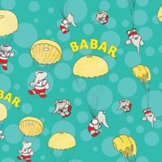 Babar print fabric | Home / Fabric Designers / Camelot Cottons / Babar / Skydiving in ...