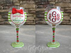 Monogrammed Christmas Wine Glass