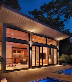 15 Compact Modern Studio Shed Designs For Your Backyard Modern Pool House, Small Pool Houses, Modern Backyard, Moderne Pools, Gazebos, Pool House Designs, Studio Shed, Shingle Style Homes, Backyard Studio