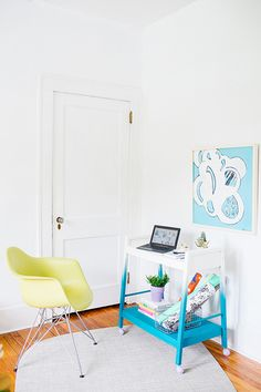 From Ugly to Ombre: Transforming a 70s TV Stand into a Colorful Modern Bar Cart - Paper and StitchPaper and Stitch