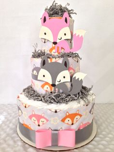 Designer 3 Tier Fox Theme Diaper Cake for Girls, Fox Themed Baby Shower Centerpiece in Pink and Gray - http://www.babyshower-decorations.com/designer-3-tier-fox-theme-diaper-cake-for-girls-fox-themed-baby-shower-centerpiece-in-pink-and-gray.html