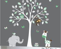 Kinder-Wand-Abziehbilder Bräune Baum Wand von Littlebirdwalldecals