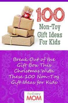 100 non-toy gifts for kids for Christmas. List of Christmas gifts for kids that are not toys.