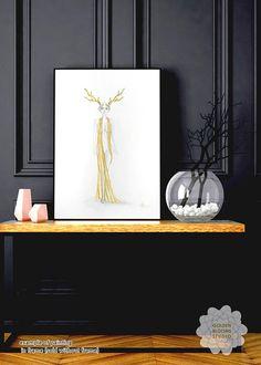 Golden Watercolor painting of deer spirit #deerspirit #watercolor #goldencollections