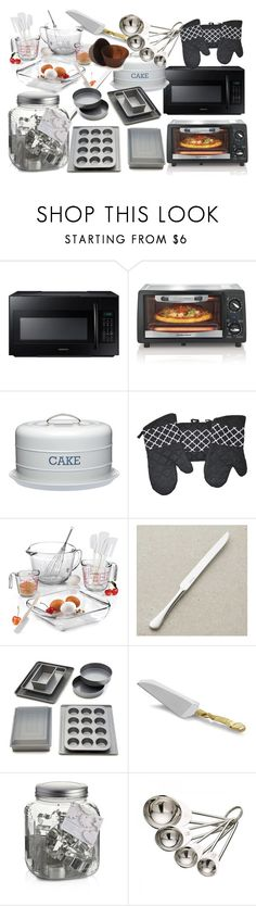 """""""Making Cakes!"""" by farrahdyna ❤ liked on Polyvore featuring interior, interiors, interior design, home, home decor, interior decorating, Samsung, Hamilton Beach, Hostess and Anchor Hocking"""