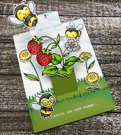 Hello again! I have another fun card to share today using the Rainbow Slider die set designed by Julie Ebersole for Ellen Hutson. (I swear… Megan Quinn, Lawn Fawn Blog, Bee Cards, Interactive Cards, Animal Coloring Pages, Bee Happy, Bees Knees, Cool Cards, Hobbies And Crafts