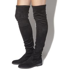 Office Eden Stretch Over The Knee Boots (£115) ❤ liked on Polyvore featuring shoes, boots, black, knee boots, women, over the knee boots, black boots, stretch leather boots, thigh high boots and black over-the-knee boots