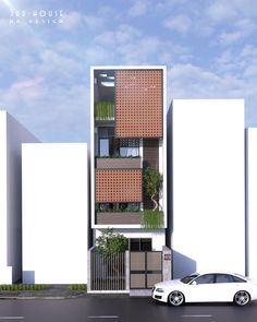 Narrow House Designs, Narrow House Plans, Modern Small House Design, House Front Design, Morden House, Modern Townhouse, Brick Architecture, Home Building Design, Up House