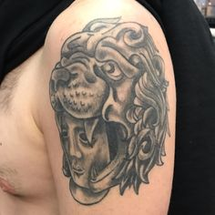 Helmet Tattoo, North Chicago, Tattoo Photos, Black And Grey, Skull, Traditional, Tattoos, Tatuajes, Tattoo