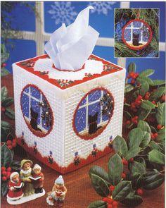 Cat XMas Tissue Box Cover Plastic Canvas