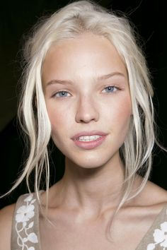 Sasha Luss, Valentino ss14 // white bleached blonde hair on a natural blonde