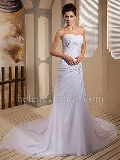 Mermaid / Trumpet Strapless Sweetheart Scalloped-Edge Asymmetrical Waist Chiffon Elastic Silk-like Satin Wedding Dress - US$ 249.99 - Style WD8498 - Helene Bridal