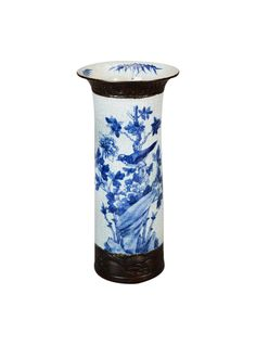 19th Century Chinese Blue and White Vase With Bronze Base and Rim