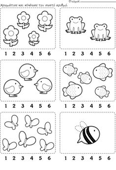 Worksheet: Count and encircle the correct number. // Ficha para…Counting Worksheet: Count and encircle the correct number. Kindergarten Math Worksheets, Preschool Learning Activities, Preschool Activities, Kids Learning, Teaching Numbers, Numbers Preschool, Nursery Worksheets, Math For Kids, Kids Education