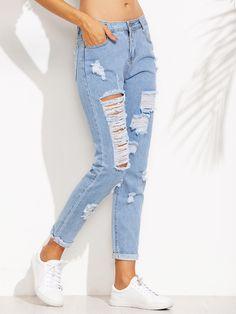Blue Distressed Roll Hem Jeans Mobile Site