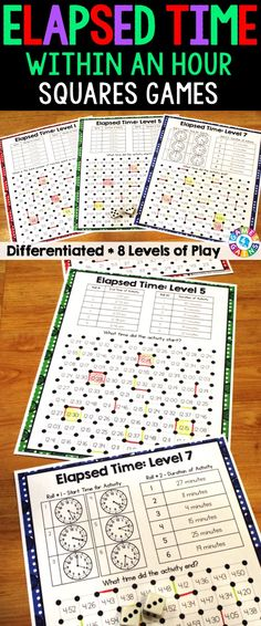 """Elapsed Time Within An Hour """"Squares"""" game contains 8 fun and engaging elapsed time games. Each one-page elapsed time game gets students to solve for the amount of time that has elapsed, the start time, or the end time. This means that you can have each student practicing the skill that he/she needs the most help with."""