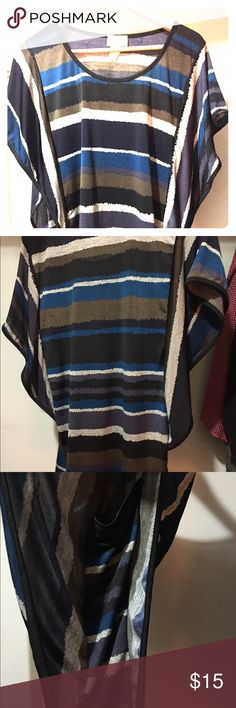 Lavish Short Sleeve Blouse Striped stretchy blouse with butterfly sleeves. More fitted at bottom and loose at chest. No size but fits like a large and is very elastic. Tops Blouses