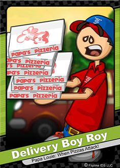 This is delivery boy Roy! He is the only worker at Papas Pizzeria, and Papa Louie's nephew. When he's not working, he can be found running errands for his uncle, Papa Louie