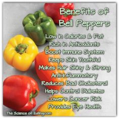 Benefits of Bell Peppers: red & orange vitamins C, K, fiber, full of carotenoids & flavonoids that disperse into the skin's fatty layer helping to protect collagen from damage while reducing wrinkling & skin aging Juicing Benefits, Health Benefits, Get Healthy, Healthy Tips, Healthy Foods, Healthy Herbs, Eating Healthy, Bell Pepper Benefits, Health And Wellness