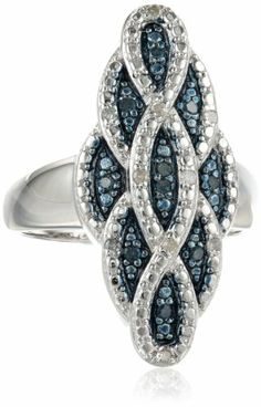 Sterling Silver Blue and White Diamond with Paint Color Twisted Ring, Size 7