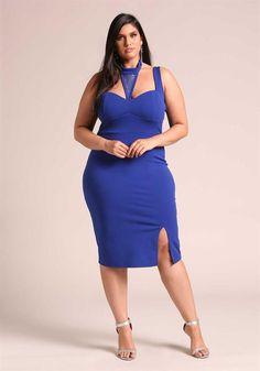 Plus Size Clothing   Plus Size Rhinestone Cut Out Bodycon Dress   Debshops