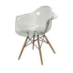 Pair of Beckett Grey Transparent Chairs with Wood Legs – Lady Builder Shops