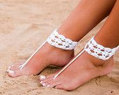 White crochet barefoot sandal-Bridal shoes-Foot jewelry-Footless sandals-Anklet-Beach wedding barefoot sandals-Yoga-Foot thongs-Nude shoes