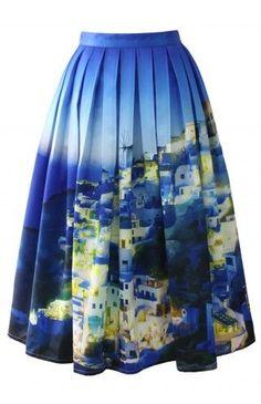 Chicwish Santorini Print Pleated Midi Skirt - Bottoms - Retro, Indie and Unique Fashion