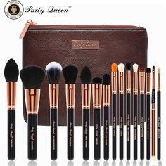 Party Queen Unique Makeup Brushes 15Pcs Rose Golden Cosmetic Set+Coffee Pouch…
