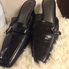 NWOT- faux croc detail and small buckle Tried on, but never used. Slip-on, open back, with about a two inch heel. Very classy! Great with a dress, suits, or just jeans😊 Shoes Mules & Clogs
