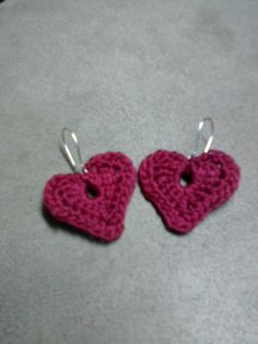 Crotchet heart earrings. Super cute :)