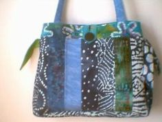 Homemade Quilted Bags Patterns Free | Quilted Jelly Roll Fabric Purse Tote Bag Blue Batik | eBay