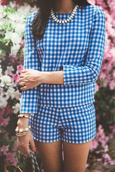 Pale Blue Gingham twin set two piece co-ord set - long sleeved shell top and fitted shorts.