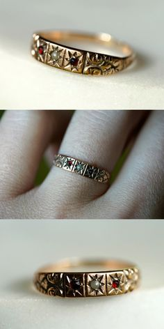 A beautifully detailed gold band ring from the Victorian era. I love vintage jewelry. Vintage Gold Rings, Antique Wedding Rings, Antique Rings, Antique Jewelry, Vintage Jewelry, Antique Gold, Gold Jewelry Simple, Cute Jewelry, Jewelry Box